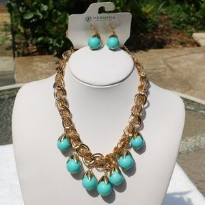 Boho Necklace Earrings Turquoise Gold Statement